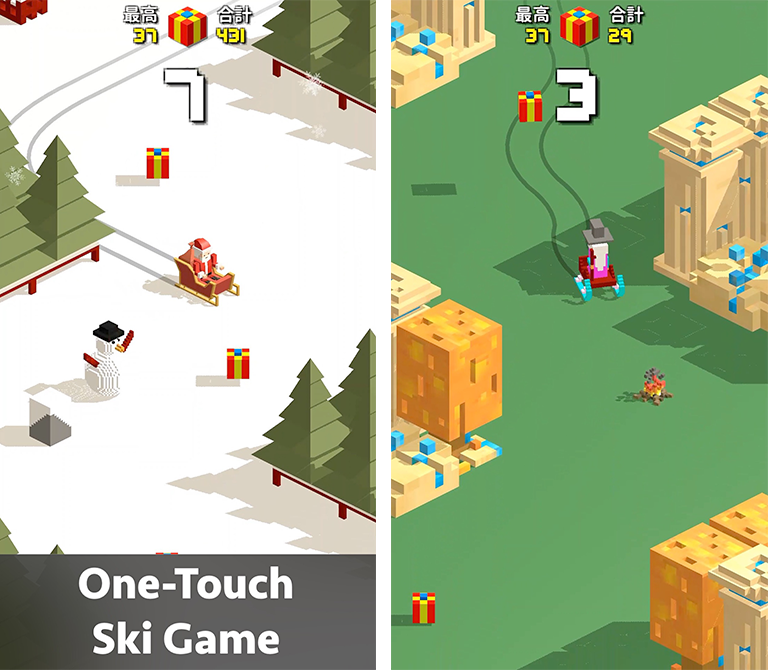 Santa ski mobile game ada software